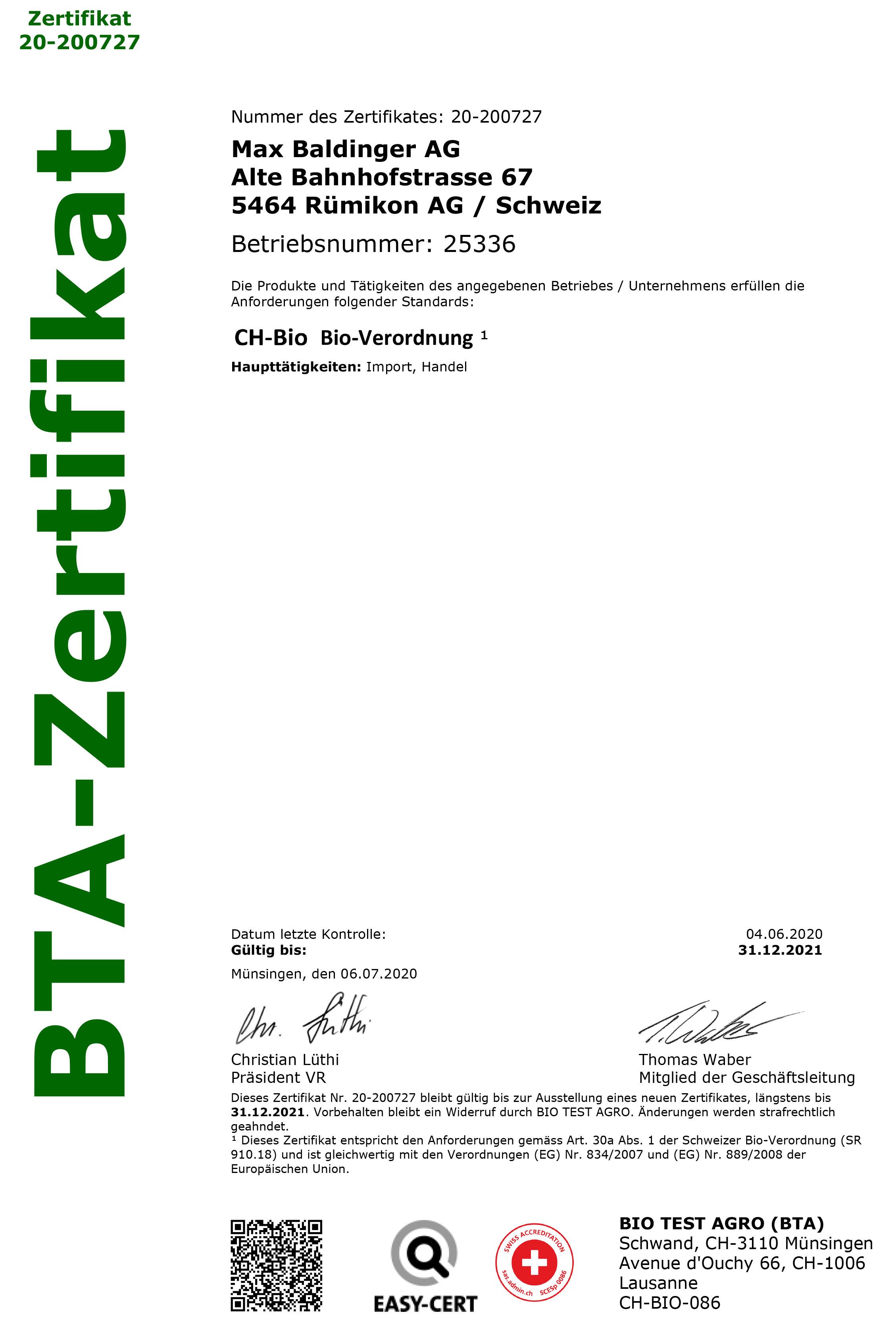 CH-BIO Zertifikat Max Baldinger AG