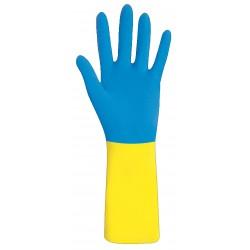 Reinigungshandschuh Dualprene blau/gelb Grösse 9, für Säure