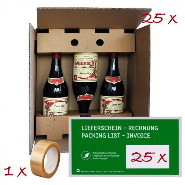Set 25 x VinoPac braun inkl. Versandtasche & Klebeband für 3 Flaschen 7 dl - 1 L
