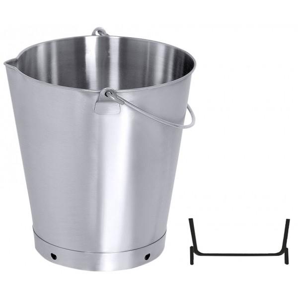 Eimer konisch Edelstahl 10 Liter mit Bodenreifen und Ausgiesser
